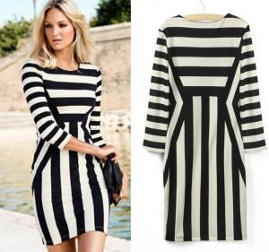 2013-Newest-Top-Fashion-Womens-Celeb-Monochrome-Black-White-Striped-O-Neck-Half-Sleeve-Slim-Optical